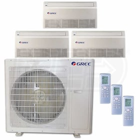Gree Universal Mounted 3-Zone System - 36,000 BTU Outdoor - 9k + 9k + 18k Indoor - 21.0 SEER
