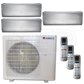 Gree CROWN Wall Mounted 3-Zone System - 36,000 BTU Outdoor - 9k + 12k + 18k Indoor - 21.0 SEER