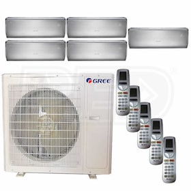 Gree CROWN Wall Mounted 5-Zone System - 36,000 BTU Outdoor - 9k + 9k + 9k + 9k + 12k Indoor - 21.0 SEER