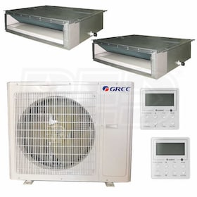 Gree Concealed Duct 2-Zone System - 36,000 BTU Outdoor - 12k + 12k Indoor - 14.8 SEER