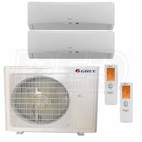 Gree TERRA Wall Mounted 2-Zone System - 36,000 BTU Outdoor - 18k + 18k Indoor - 21.0 SEER