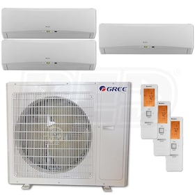 Gree TERRA Wall Mounted 3-Zone System - 36,000 BTU Outdoor - 9k + 9k + 24k Indoor - 21.0 SEER