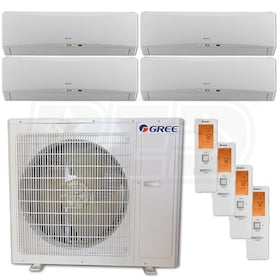 Gree TERRA Wall Mounted 4-Zone System - 36,000 BTU Outdoor - 9k + 12k + 12k + 12k Indoor - 21.0 SEER