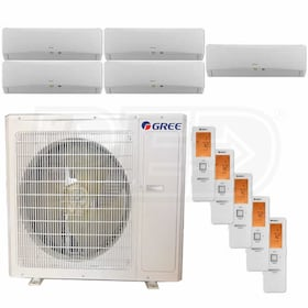 Gree TERRA Wall Mounted 5-Zone System - 36,000 BTU Outdoor - 9k + 9k + 9k + 9k + 9k Indoor - 21.0 SEER