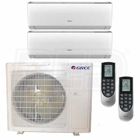 Gree VIREO Wall Mounted 2-Zone System - 36,000 BTU Outdoor - 12k + 18k Indoor - 21.0 SEER