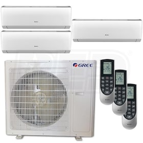 Gree VIREO Wall Mounted 3-Zone System - 36,000 BTU Outdoor - 9k + 18k + 18k Indoor - 21.0 SEER