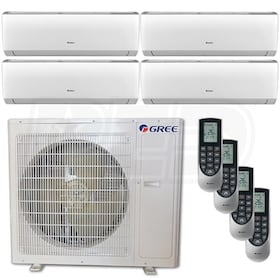 Gree VIREO Wall Mounted 4-Zone System - 36,000 BTU Outdoor - 12k + 12k + 12k + 12k Indoor - 21.0 SEER
