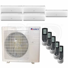 Gree VIREO Wall Mounted 5-Zone System - 36,000 BTU Outdoor - 9k + 9k + 9k + 9k + 9k Indoor - 21.0 SEER
