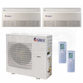 Gree Universal Mounted 2-Zone System - 42,000 BTU Outdoor - 18k + 18k Indoor - 21.0 SEER