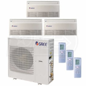 Gree Universal Mounted 3-Zone System - 42,000 BTU Outdoor - 9k + 9k + 18k Indoor - 21.0 SEER