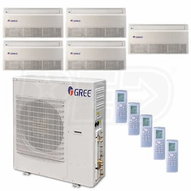 Gree Universal Mounted 5-Zone System - 42,000 BTU Outdoor - 9k + 9k + 9k + 9k + 12k Indoor - 21.0 SEER
