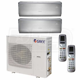 Gree CROWN Wall Mounted 2-Zone System - 42,000 BTU Outdoor - 9k + 18k Indoor - 21.0 SEER