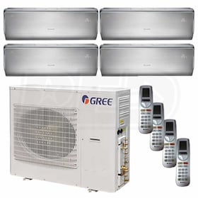 Gree CROWN Wall Mounted 4-Zone System - 42,000 BTU Outdoor - 9k + 9k + 12k + 12k Indoor - 21.0 SEER