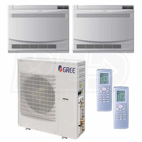 Gree Floor Standing 2-Zone System - 42,000 BTU Outdoor - 12k + 12k Indoor - 21.0 SEER