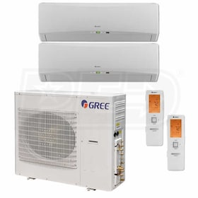 Gree TERRA Wall Mounted 2-Zone System - 42,000 BTU Outdoor - 18k + 18k Indoor - 21.0 SEER