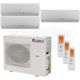 Gree TERRA Wall Mounted 3-Zone System - 42,000 BTU Outdoor - 9k + 9k + 9k Indoor - 21.0 SEER