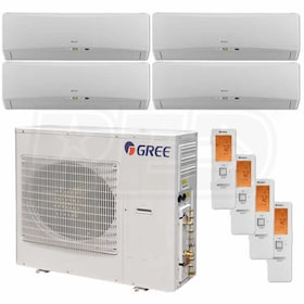 Gree TERRA Wall Mounted 4-Zone System - 42,000 BTU Outdoor - 9k + 9k + 9k + 18k Indoor - 21.0 SEER