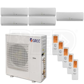 Gree TERRA Wall Mounted 5-Zone System - 42,000 BTU Outdoor - 9k + 9k + 9k + 9k + 9k Indoor - 21.0 SEER