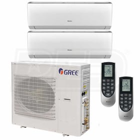 Gree VIREO Wall Mounted 2-Zone System - 42,000 BTU Outdoor - 9k + 24k Indoor - 21.0 SEER