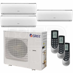 Gree VIREO Wall Mounted 3-Zone System - 42,000 BTU Outdoor - 9k + 9k + 18k Indoor - 21.0 SEER