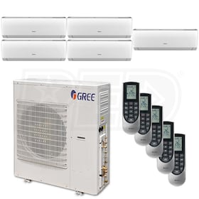 Gree VIREO Wall Mounted 5-Zone System - 42,000 BTU Outdoor - 9k + 9k + 9k + 9k + 9k Indoor - 21.0 SEER
