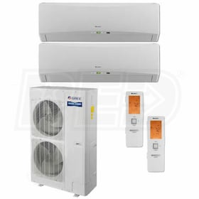 Gree TERRA Wall Mounted 2-Zone System - 56,000 BTU Outdoor - 12k + 18k Indoor - 16.0 SEER