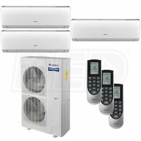 Gree VIREO Wall Mounted 3-Zone System - 48,000 BTU Outdoor - 12k + 12k + 24k Indoor - 16.0 SEER