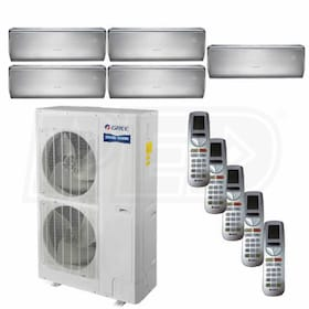 Gree CROWN Wall Mounted 5-Zone System - 56,000 BTU Outdoor - 12k + 12k + 18k + 18k + 18k Indoor - 16.0 SEER