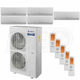 Gree TERRA Wall Mounted 5-Zone System - 56,000 BTU Outdoor - 9k + 9k + 12k + 18k + 18k Indoor - 16.0 SEER