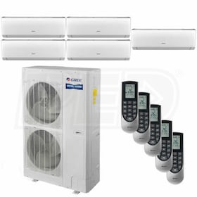 Gree VIREO Wall Mounted 5-Zone System - 56,000 BTU Outdoor - 12k + 12k + 12k + 18k + 18k Indoor - 16.0 SEER