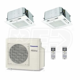 Panasonic Ceiling Cassette 2-Zone System - 19,000 BTU Outdoor - 12k + 12k Indoor - 22.0 SEER