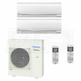 Panasonic Wall Mounted 2-Zone System - 24,000 BTU Outdoor - 12k + 18k Indoor - 22.0 SEER