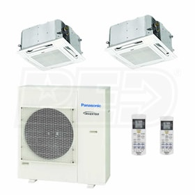 Panasonic Ceiling Cassette 2-Zone System - 24,000 BTU Outdoor - 12k + 18k Indoor - 22.0 SEER
