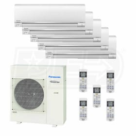 Panasonic Wall Mounted 5-Zone System - 36,000 BTU Outdoor - 7k + 7k + 7k + 9k + 24k Indoor - 18.5 SEER
