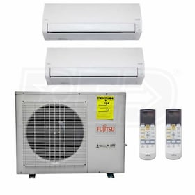 Fujitsu Wall Mounted 2-Zone XLTH System - 18,000 BTU Outdoor - 7k + 9k Indoor - 21.5 SEER