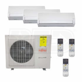 Fujitsu Wall Mounted 3-Zone System - 36,000 BTU Outdoor - 12k + 12k + 12k Indoor - 18.0 SEER