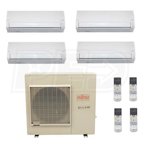 Fujitsu Wall Mounted 4-Zone System - 36,000 BTU Outdoor - 7k + 7k + 12k + 12k Indoor - 18.0 SEER