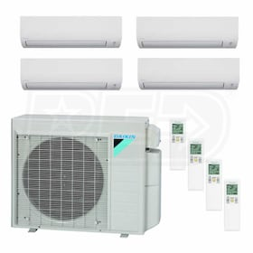 Daikin MXS Wall Mounted 4-Zone System - 36,000 BTU Outdoor - 9k + 9k + 12k + 18k Indoor - 17.7 SEER