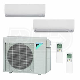 Daikin MXS Wall Mounted 2-Zone System - 24,000 BTU Outdoor - 12k + 15k Indoor - 18.9 SEER