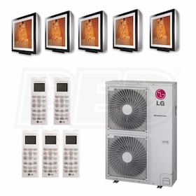 LG Art Cool Gallery Wall Mounted 5-Zone System - 60,000 BTU Outdoor - 9k + 9k + 12k + 12k + 12k Indoor - 20.7 SEER