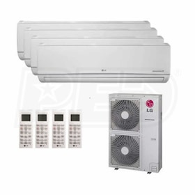 LG Wall Mounted 4-Zone System - 54,000 BTU Outdoor - 9k + 9k + 15k + 24k Indoor - 18.1 SEER