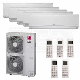 LG Wall Mounted 5-Zone System - 54,000 BTU Outdoor - 12k + 12k + 12k + 12k + 15k Indoor - 17.5 SEER