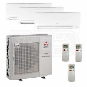 Mitsubishi Wall Mounted 3-Zone System - 42,000 BTU Outdoor - 12k + 18k + 24k Indoor - 19.7 SEER