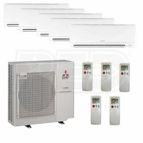 Mitsubishi Wall Mounted 5-Zone System - 42,000 BTU Outdoor - 6k + 6k + 6k + 12k + 24k Indoor - 19.7 SEER