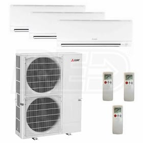 Mitsubishi Wall Mounted 3-Zone System - 48,000 BTU Outdoor - 9k + 9k + 24k Indoor - 18.9 SEER
