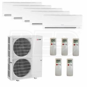 Mitsubishi Wall Mounted 5-Zone System - 48,000 BTU Outdoor - 6k + 9k + 9k + 9k + 24k Indoor - 18.9 SEER