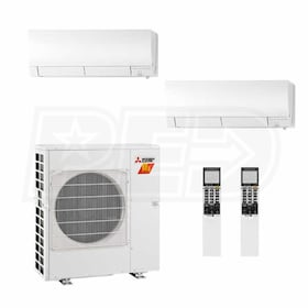 Mitsubishi Wall Mounted 2-Zone H2i System - 24,000 BTU Outdoor - 12k + 12k Indoor - 19.0 SEER