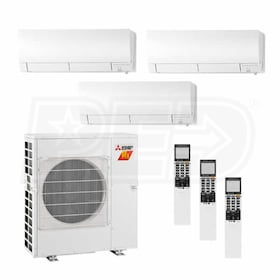 Mitsubishi Wall Mounted 3-Zone H2i System - 30,000 BTU Outdoor - 9k + 9k + 9k Indoor - 18.0 SEER