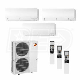 Mitsubishi Wall Mounted 3-Zone H2i System - 36,000 BTU Outdoor - 6k + 12k + 12k Indoor - 19.1 SEER