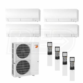 Mitsubishi Wall Mounted 4-Zone H2i System - 48,000 BTU Outdoor - 9k + 9k + 12k + 18k Indoor - 18.9 SEER
